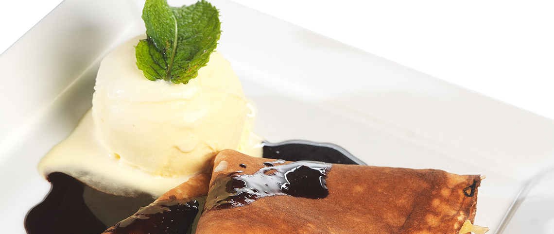 Chocolate Crepe with vanilla ice cream